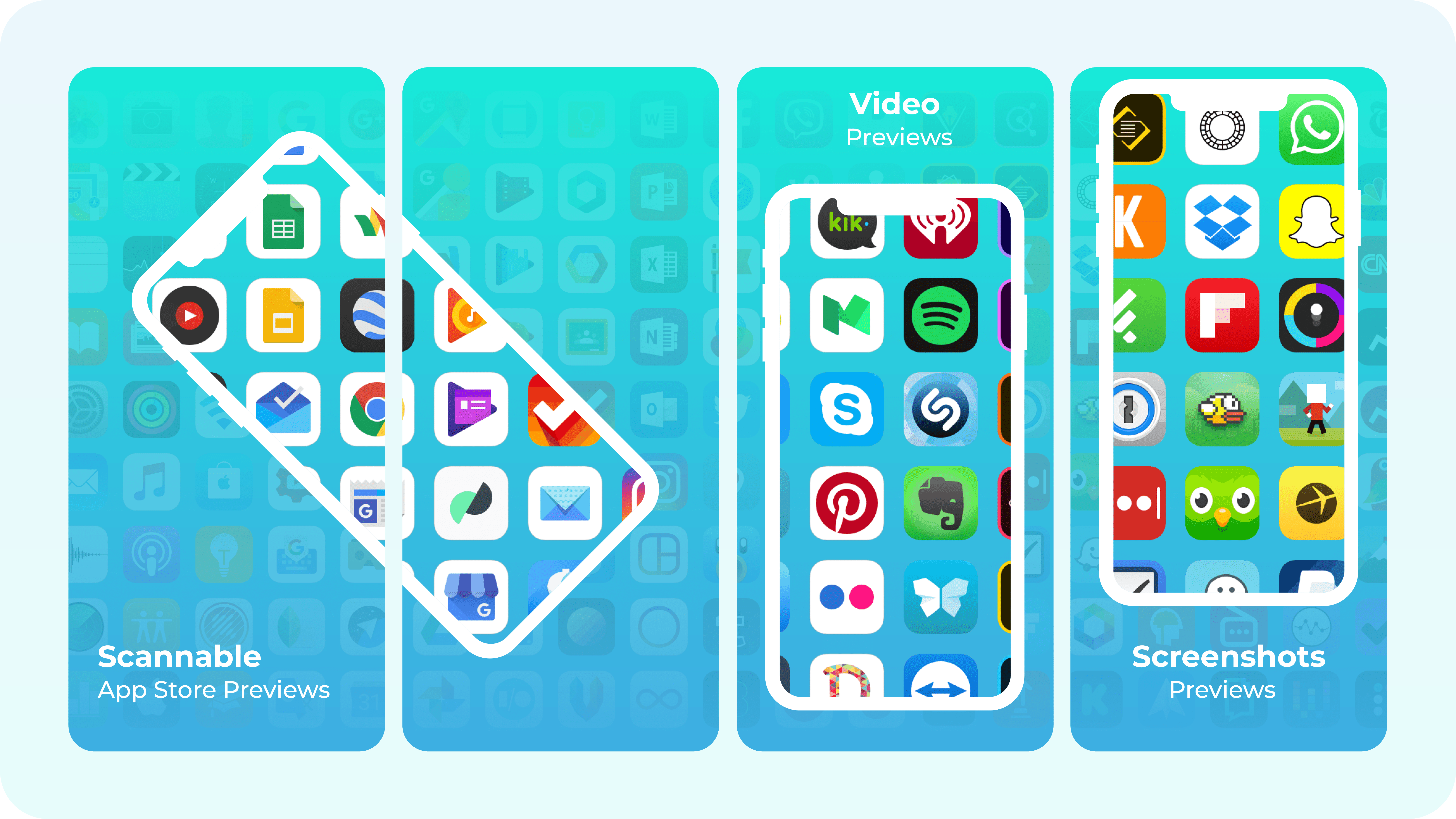 App Store preview mockups for screenshots and videos